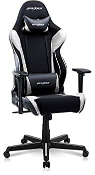 DXRacer OH/RAA106 Racing Series Adjustable Ergonomic Computer Gaming Home Office Leather Desk Chair with Lumbar Support Swivel Base Wheels and Headrest Standard Black and White