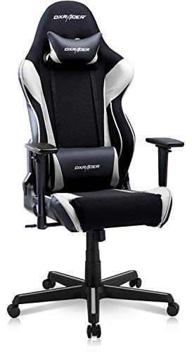 DXRacer OH/RAA106 Racing Series Gaming Ergonomic Home Office Comfortable Desk Back Computer Chair | Height Swivel, 3D armrest, Strong Mesh and PU Leather, Standard, Black & White chairs Computer Dining Features gaming Kitchen
