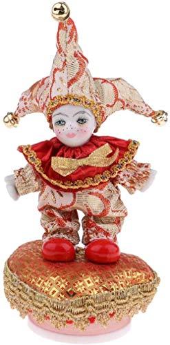 TBBE 20 cm Lindo Italiano Porcelana Triangel Muñeca Cerámica Caja de Música Inicio Decoración Festival Regalos Rojo Oro