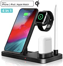 Wireless Charger 4 in 1 Charging Station QI Fast Charger Compatible with Apple Watch Series 4/3/2/1 and Airpods, Wireless Charging Stand for iPhone 11/11 pro/11 Pro Max/X/XS/XR/Xs Max/8/8 Plus Black