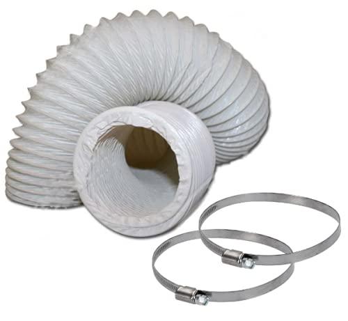 DL-pro Abluftschlauch Ø 100 / 102mm PVC Schlauch 6m Lüftungsschlauch für 100er Klimaanlage Wäschetrockner Dunstabzugshaube (6 meter mit Schellen)