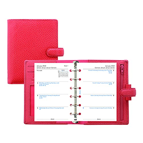Filofax Finsbury Organizer, Pocket Size, Coral – Traditional Grained Leather, Six Rings, Week-to-View Calendar Diary, Multilingual, 2022 (C025553-22)