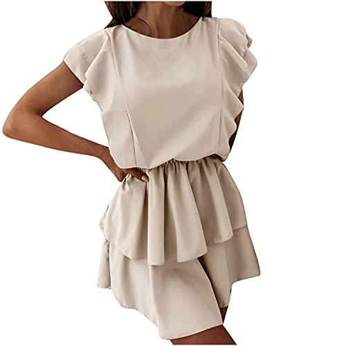 Zzbeans Sommerkleid Damen Kurz, Mode Rüschenkleid Damen Sommer Kleid Damen Elegant Doppelschicht Kleider Beiläufig Loses Kleid Abendkleid Ballkleid