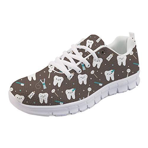 HUGS IDEA Zapatillas respirables de la malla del aire de las mujeres, zapatos ligeros de los deportes del diente del dentista
