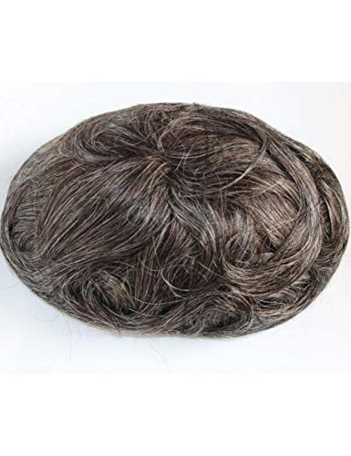 JKDKK perruques Thin Skin Toupee Men Real Human Hair Pieces Natural Hairline Virgin Hair Replacement System , 8X10,240# Wave