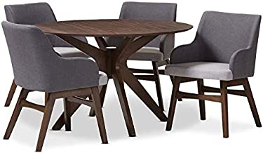 Baxton Studio Monte 5 Piece Round Dining Set in Gray and Walnut
