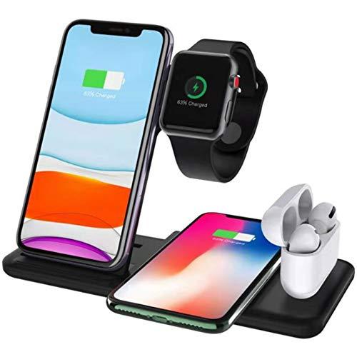 Soporte de Cargador inalámbrico 4 en 1 15W Estación de Muelle de Carga rápida Compatible con iPhone 12 Pro MAX 11 x Compatible con Apple Watch Iwatch 6 5 4 Airpods Pro,Negro