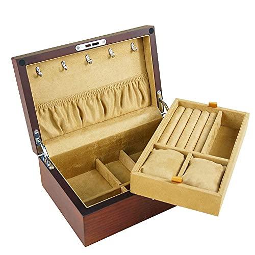 JIANGCJ Bella Caja de joyería de Madera de Gran Capacidad con Caja de joyería de Terciopelo Organizador para Reloj Collar Anillo Anillo Pulsera Ballicada Caja
