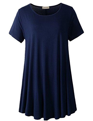 LARACE Women Short Sleeves Flare Tunic Tops for Leggings Flowy Shirt (2X, Navy Blue)