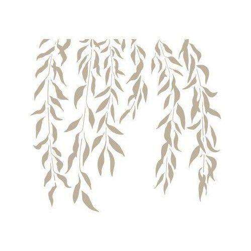 TODO-STENCIL Mini Deco Fondo 064 Hojas Colgantes. Medidas aproximadas: Medida Exterior 12 x 12 cm Medida del diseño:10 x 11 cm