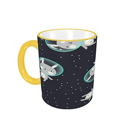 Taza de café Cute Cartoon Space Bunny Tazas de café Divertidas Tazas de cerámica con Asas para Bebidas Calientes - Cappuccino, Latte, Tea, Cocoa, Coffee Gifts 12 oz Sky Blue