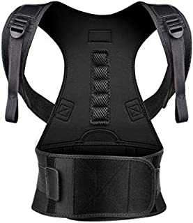 Back Brace Posture Corrector XL for Women Men with Magnetic Stone Adjustable Neoprene Straps Improves Posture and Provides Lumbar Support for Lower and Upper Back Pain