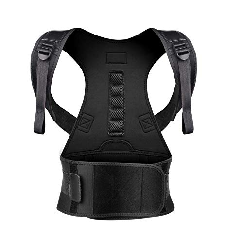 Back Brace Posture Corrector L for Women Men with Magnetic Stone Adjustable Neoprene Straps Improves Posture and Provides Lumbar Support for Lower and Upper Back Pain
