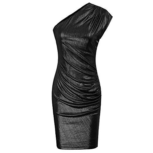 GRACE KARIN Damen One Shoulder Bleistiftkleid Bodycon Pleated Kleid Midi Sexy Party Kleid S Schwarz CL917-1