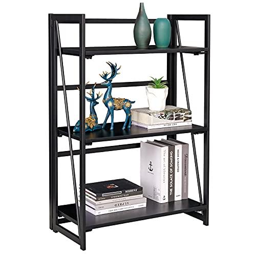 Coavas - Scaffale pieghevole a 3 ripiani per libreria, scaffale per casa, senza assemblaggio, con supporto industriale, robusto, nero