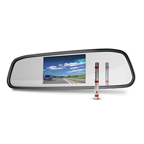 "Carmedien Rückspiegel mit 4,3\"" Monitor TFT Display Bildschirm für Rückfahrkamera Rückspiegelmonitor 12V"
