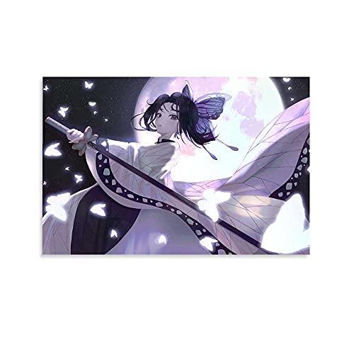 JUSHENG Shinobu Kochou anime moon Animación Obras Poster Sala de estar Pintura Decorativa Arte Salón Pintura Óleo Cartel 30x45cm