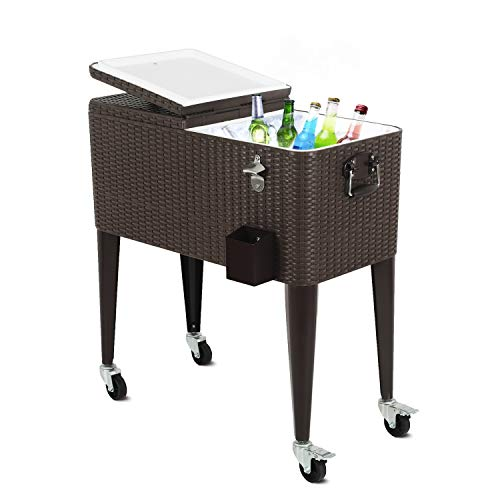 Puluomis 80 Quart Outdoor Patio Cooler Cart, Wicker Pattern Beverage Rolling Cooler on Wheels, Rolling Ice Chest with Bottle Opener, Brown