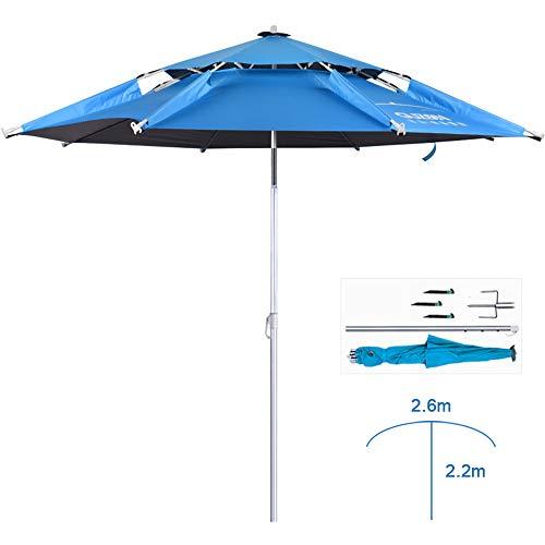 WWWRL 2.6m Fischen Sonnenschirm Blau - Doppel Schicht verstärktes Vinyl | Höhe 2.2m | Aluminiumstange mit 360 ° Drehung, zum Balkon/Garten/Terrasse/Strand/Spielplatz/Markt Sonnenschirm