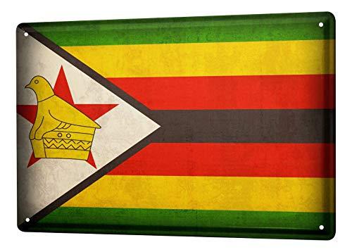 LEotiE SINCE 2004 Blechschild Dekoschild Küche Garage Welt Reise Simbabwe Flagge Wand Deko Schild 20X30 cm