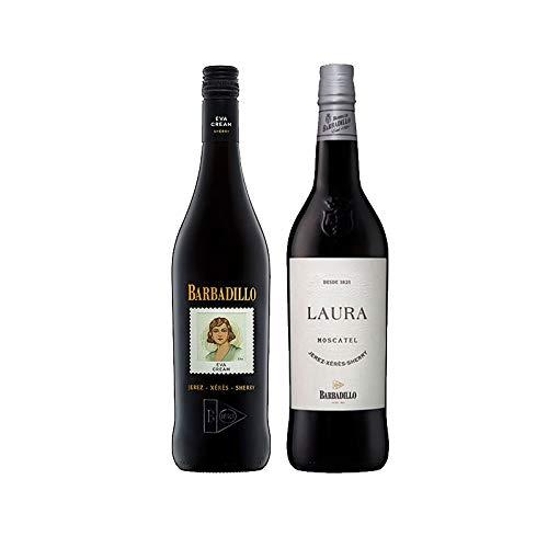 Vinos Moscatel Laura y Eva Cream - D.O. Jerez-Sherry - Mezclanza Barbadillo (Pack de 2 botellas)