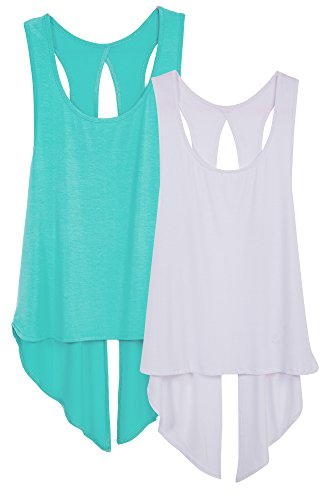 icyzone Sexy Yoga Tops Workout Clothes Racerback Tank Top for Sport Women (M, Pool Blue/White)