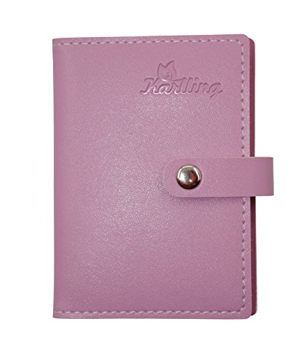 Karlling Slim Minimalist Soft Leather Mini Case Holder Organizer Wallet for 20 Credit Card(Pink)