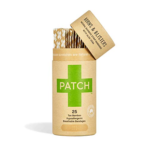 PATCH Eco-Friendly Bamboo Bandages for Burns & Blisters, Hypoallergenic Wound Care for Sensitive Skin - Compostable & Biodegradable, Latex Free, Plastic Free, Zero Waste, Aloe Vera, 25ct