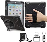 iPad 2/3/4 Case, TSQ Heavy Duty Rugged Protective Shockproof Durable Hard Case with Handle Hand Grip, Shoulder Strap&360 Degree Stand, for Kids Girl Boy iPad 2nd/3rd/4th Generation Case Cover Black