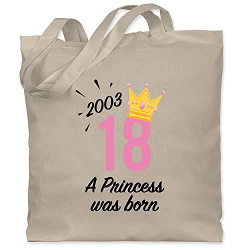 Shirtracer Geburtstagsgeschenk Geburtstag - 18 Geburtstag Mädchen Princess 2003 - schwarz - Unisize - Naturweiß - WM101 - WM101 - Stoffbeutel aus Baumwolle Jutebeutel lange Henkel