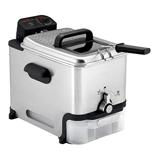 T-fal Deep Fryer with Basket, Stainless Steel, Easy to Clean Deep Fryer, Oil Filtration, 2.6-Pound, Silver, Model FR8000 image