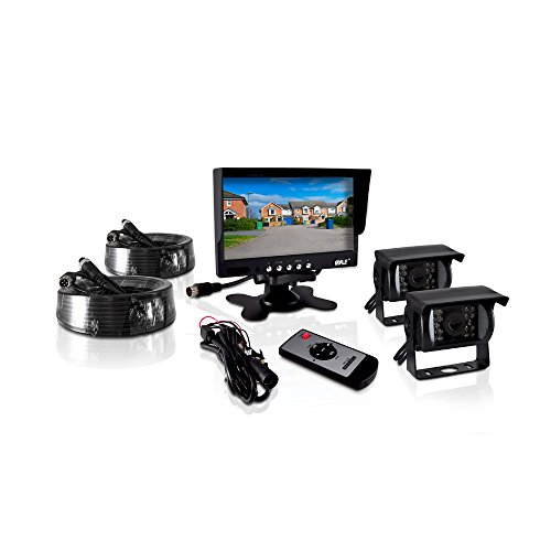 Pyle PLCMTR72 Weatherproof Rearview Backup Camera and Monitor Video System for Bus, Truck, Trailer and Van (2 Cams, 7