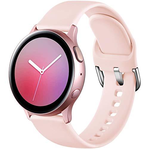 Dirrelo Deportiva Correa Compatible con Samsung Galaxy Watch Active/Active 2 40mm/44mm, Reemplazo de Silicona para Galaxy Watch 42mm/Gear Sport/Gear S2 Classic para Mujeres y Hombres, Rosado S