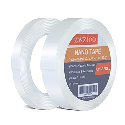 Double Sided Tape Heavy Duty (2 Rolls, Total 20FT), Multipurpose Mounting Tape Removable Nano Tape Adhesive Grip, Washable Sticky Wall Tape Strips Transparent Tape Poster Carpet Tape for Home & Office