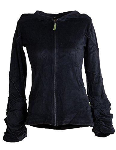 Vishes – Alternative Bekleidung – kuschelige Samtjacke mit extra großer Kapuze schwarz 38