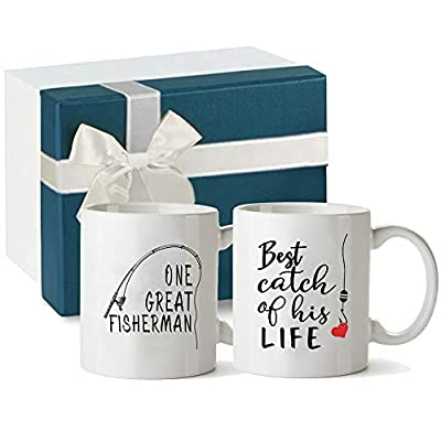 Tom Boy Anniversary Wedding Gifts for Couple, One Great Fisherman, Best Catch of His Life, Unique His and Hers Gifts for Couples Coffee Mug Set 11oz