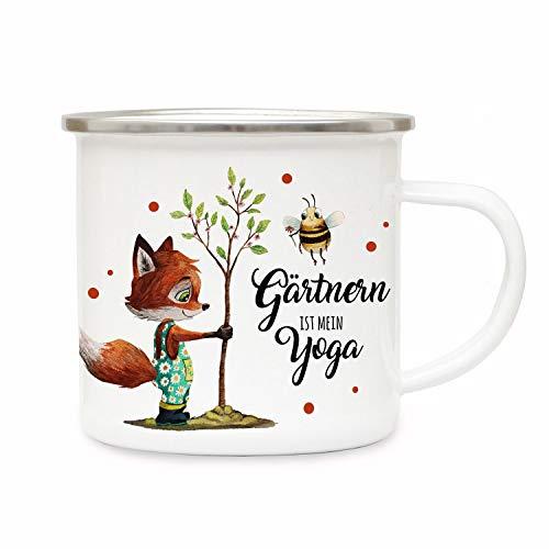 ilka parey wandtattoo-welt Emaille Becher Camping Tasse Fuchs mit Hummel & Spruch Gärtnern ist Mein Yoga Kaffeetasse Geschenk eb435