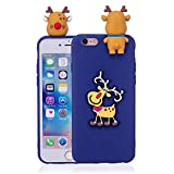 LAXIN Christmas Elk - Blue 3D Creative Candy Color Design Slim Fit Soft Silicone Flexible Back Bumper [Anti-scratch] Protection Phone Case for iPhone 6 Plus / 6s Plus