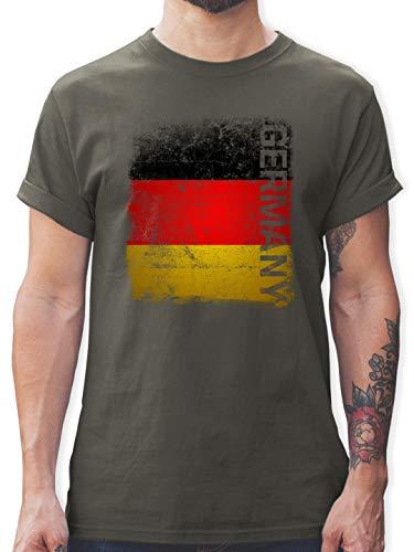 Fußball-Europameisterschaft 2021 - Germany Vintage Flagge - XL - Dunkelgrau - Shirt Germany Herren - L190 - Tshirt Herren und Männer T-Shirts