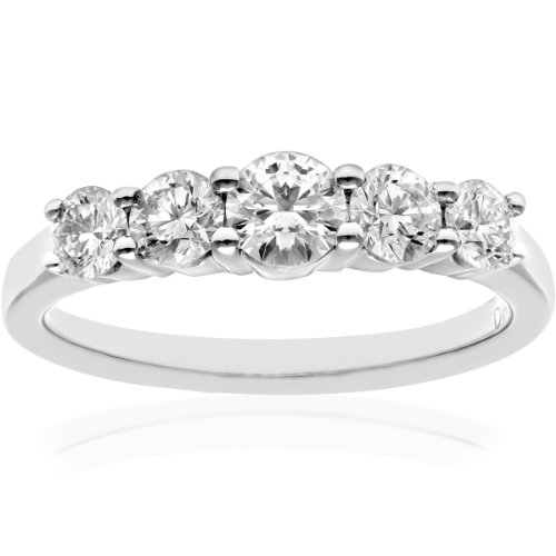 Naava Women's 18 ct White Gold 5 stone Eternity Ring, H/SI Certified Diamonds, Round Brilliant, 1.00ct, White Gold, J