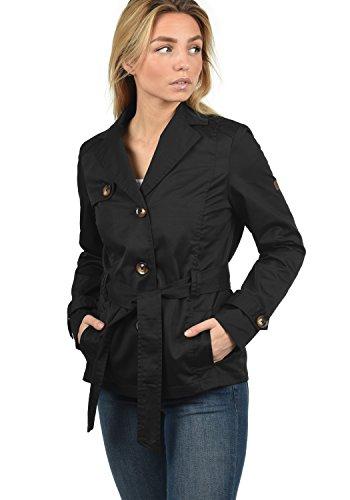 DESIRES Trixie Damen Trenchcoat Mantel Übergangsjacke mit Reverskragen und Gürtel, Größe:M, Farbe:Black (9000)