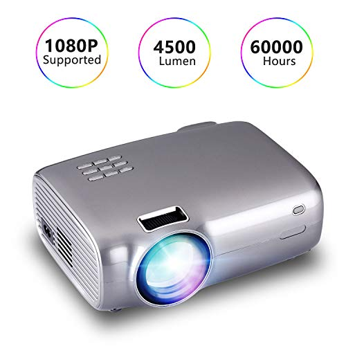"""BEEY Video Projector 4500 Lumens Mini Portable LCD 1080P FHD Movie Projector with Dual Speakers 200"""" Display Zoom 60000 Hrs LED Wall Projector Compatible with TV Stick,PS4,HDMI,VGA,TF,AV and USB"""