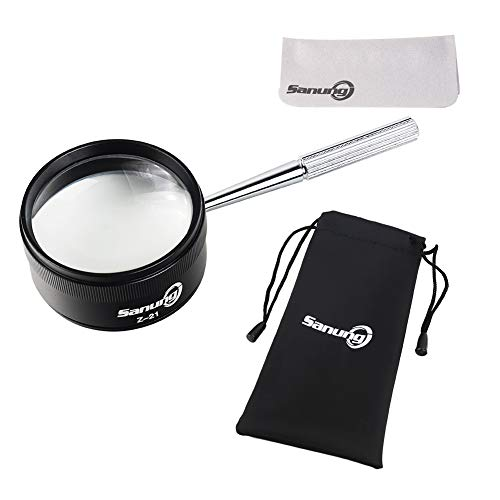 Sanung Z-21 Handheld Optical Magnifying Glass 30X with Detachable Handle, 1.85IN Magnifier Lens Set for Senior Kids Reading Exploring Jewelry Identifying