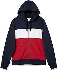 Amazon Essentials Sudadera con Capucha y Cremallera Completa fashion-sweatshirts, blanco, borgoña, azul marino (Burgundy/White/Navy), US S (EU S)