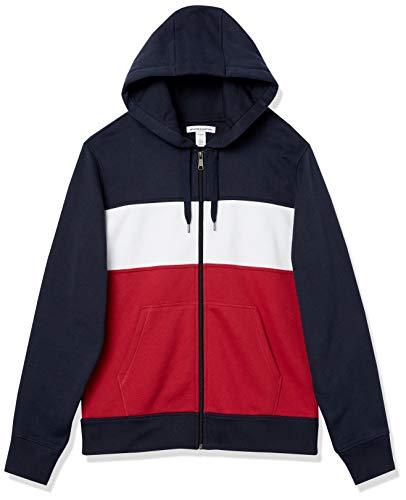 Amazon Essentials Fleece Full-Zip Hooded fashion-sweatshirts, Burgunderrot/Weiß/Marineblau, US M (EU M)