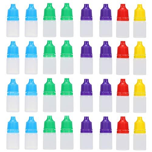 HEALLILY 50Pcs Frascos Cuentagotas Comprimibles Vacíos de Plástico Transparente Gotero Líquido Ocular de 5 Ml con Tapas Botellas de Muestra Contenedor Suministros de Pintura Amarillo Rojo