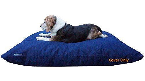 """Dogbed4less Do It Yourself DIY Pet Bed Pillow Duvet Denim Cover with Waterproof Internal Case for Dog or Cat, Large 48""""X29"""" Blue Color - Covers only"""