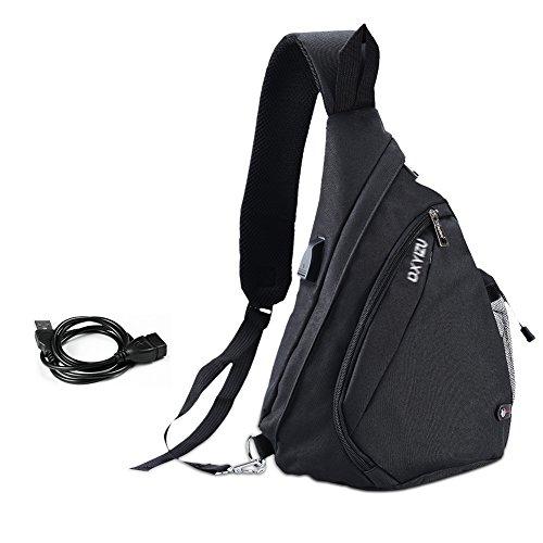 VBIGER Brusttasche Schultertasche Herren Sling Rucksack Outdoor Brusttasche Sport Schultertasche mit USB Kabel und Ladeanschluss
