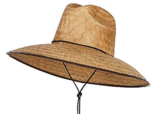 Men's Crushed Safari Straw Sun Hat,Life Guard Hat,Gardening,Safari Out Door (Dark Natural)