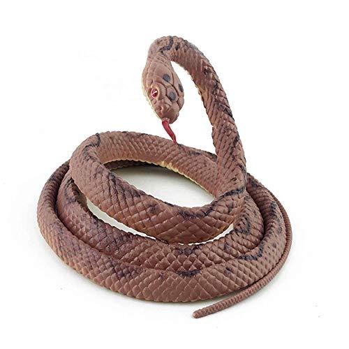 Lebensechte Kunststoff Schlange, 4 Stück 51 Zoll Realistische Bunte Schlangen, Scary-Gag-Geschenk für Garten Props Streich Halloween-Dekoration,Braun